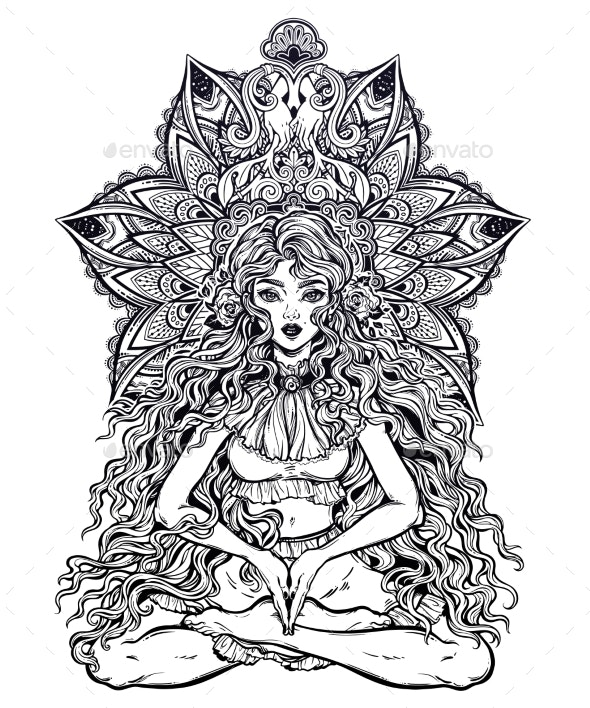 Girl in Lotus Position with Long Hair - People Characters