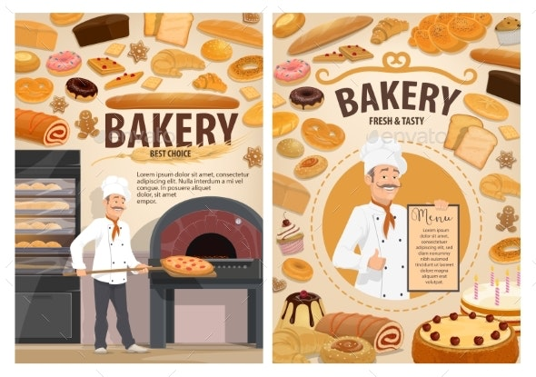 Bakery Shop Cakes, Baker Patisserie Pastry Menu - Food Objects