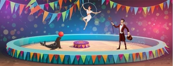 Circus Acrobats and Animal Juggling Show - Characters Vectors