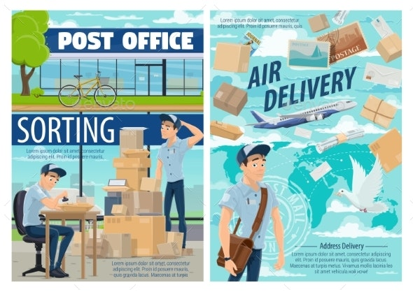 Air Mail Delivery, Postman at Post Office - Industries Business