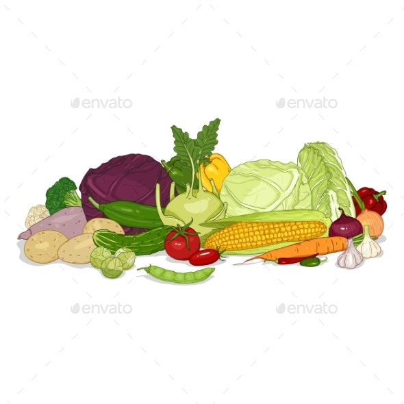 Vector Cartoon Color Set of Vegetables in Pile - Food Objects