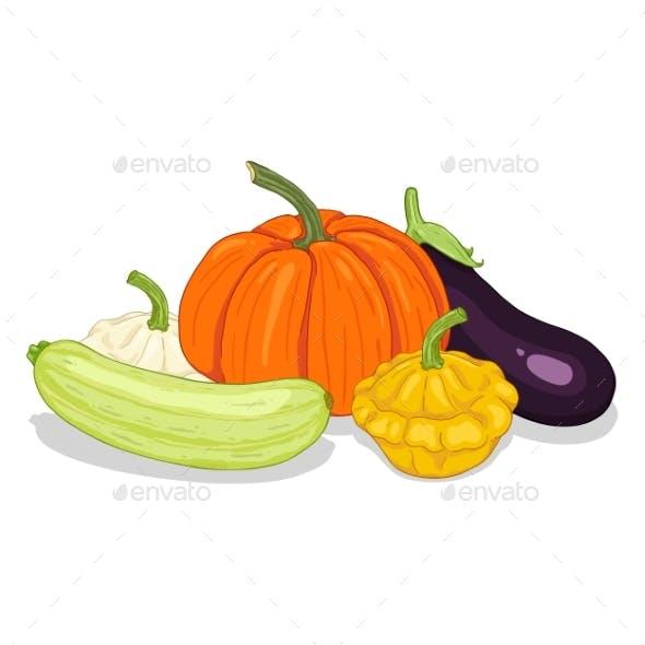 Vector Cartoon Pile of Vegetables