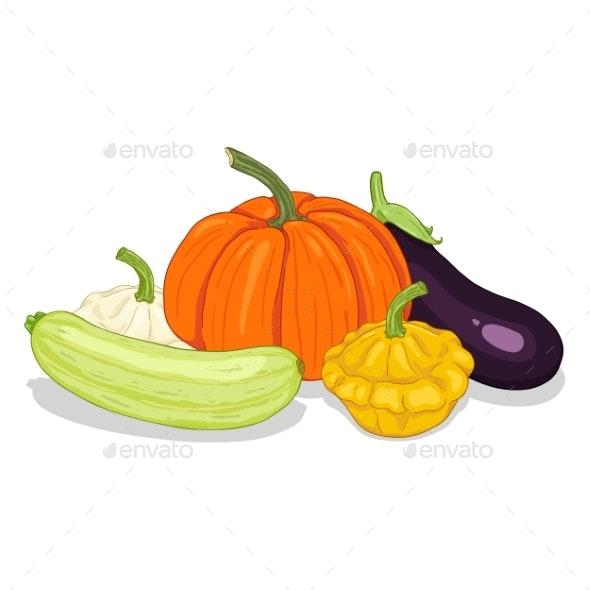 Vector Cartoon Pile of Vegetables - Food Objects