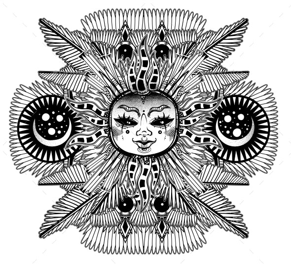 Fantasy Inspired Tribal Sun Star with a Human Face - Characters Vectors