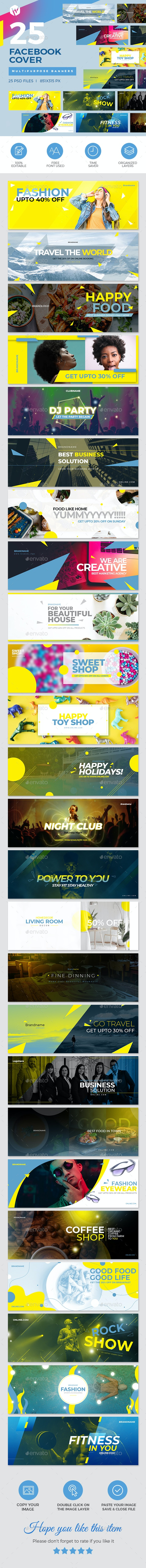 25 Facebook Cover Banners - Social Media Web Elements
