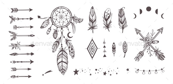 Boho Style Vector Collection for Tattoo - Decorative Symbols Decorative