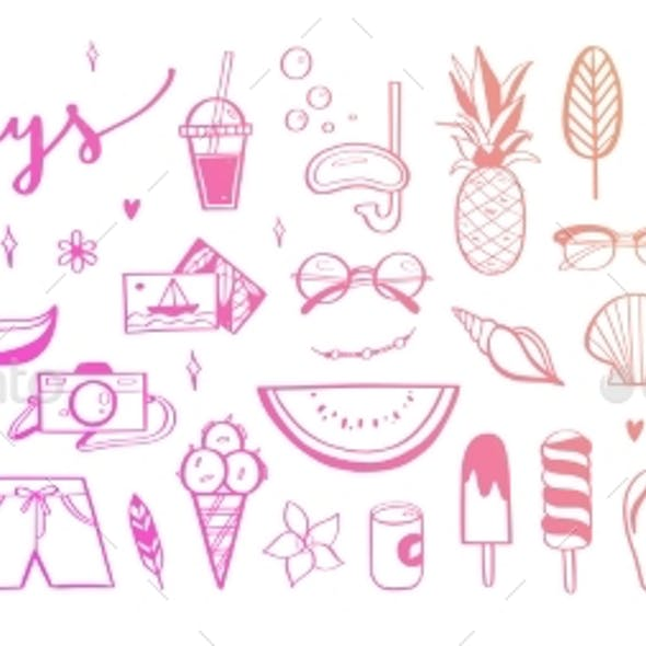 Set of Summer Vector Design Doodle Elements