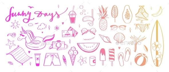 Set of Summer Vector Design Doodle Elements - Seasons Nature