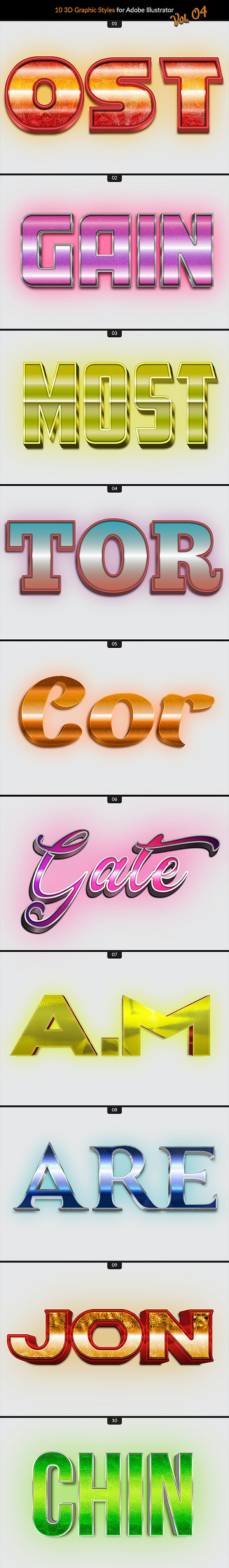 10 3D Styles vol. 04 - Styles Illustrator