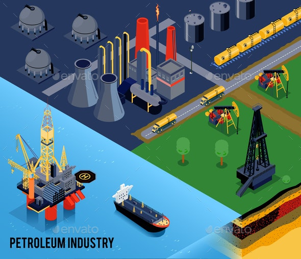 Isometric Oil Industry Composition - Industries Business