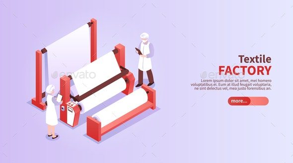 Isometric Textile Factory Illustration - Industries Business