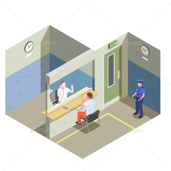 Prison Jail Isometric Composition - People Characters