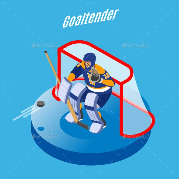 Hockey Goaltender Isometric Background By Macrovector Graphicriver