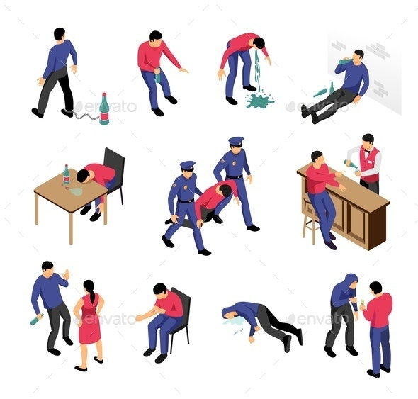 Alcoholism and Narcotics Isometric Set - Miscellaneous Vectors