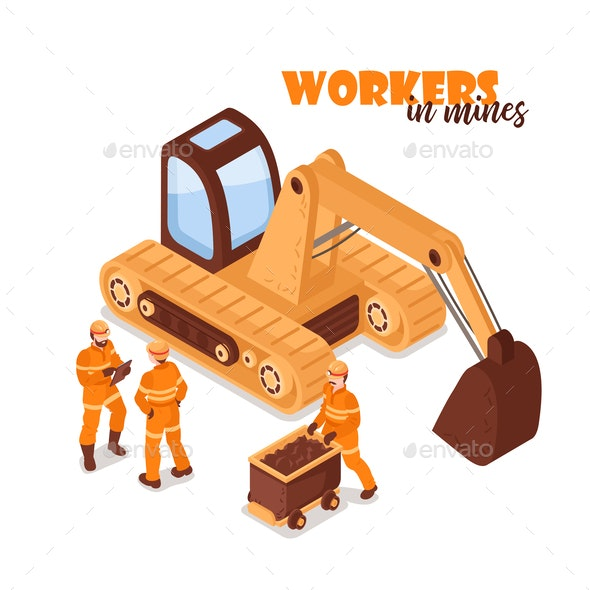 Workers in Mines Background - Industries Business
