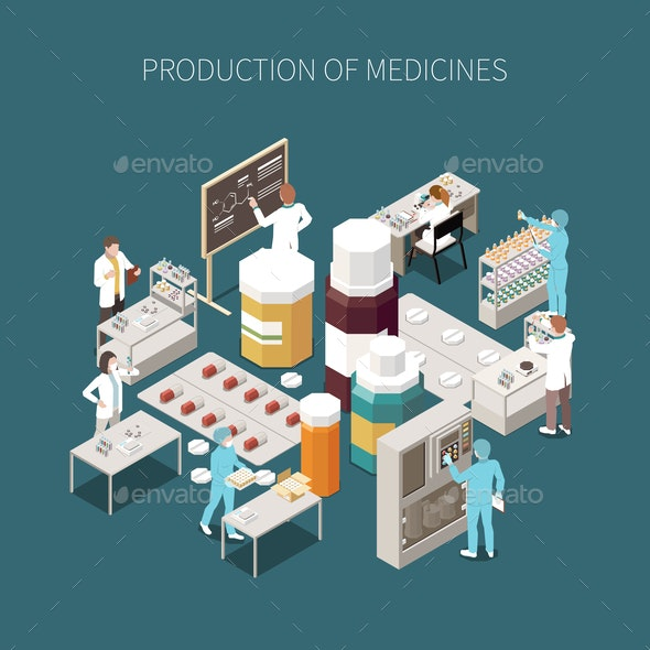 Colored Isolated Pharmaceutical Production Composition - Health/Medicine Conceptual
