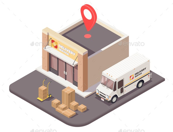 Delivery Office Isometric Composition - Industries Business