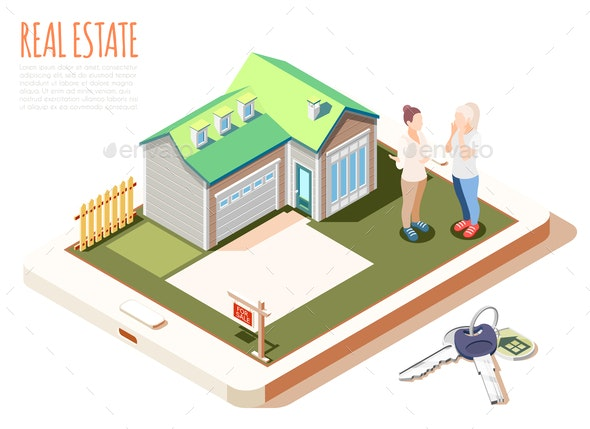 Real Estate Augmented Reality Isometric Composition - Buildings Objects