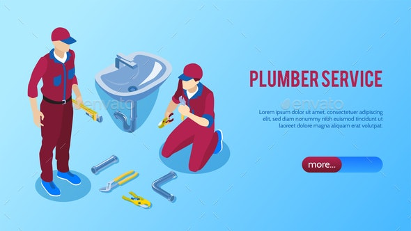 Plumbing Service Horizontal Banner - Backgrounds Decorative