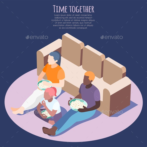 Time Together Isometric Background - People Characters