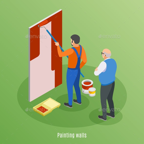 Painting Walls Isometric Background - Miscellaneous Vectors