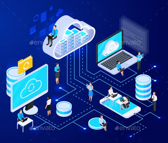 Cloud Networking Isometric Composition - Objects Vectors