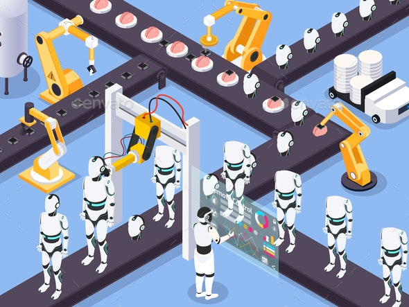 Robots Assembly Line Composition - People Characters