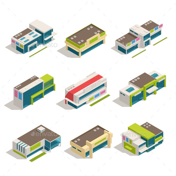 Store Mall Shopping Center Isometric Buildings Icon Set - Buildings Objects