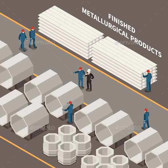 Metal Industry Isometric Composition - Industries Business