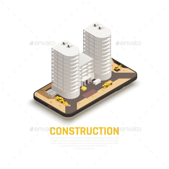 Construction Isometric Composition - Buildings Objects