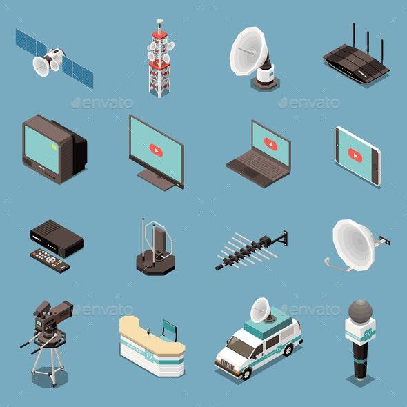 Telecommunication Isometric Icons Set - Computers Technology