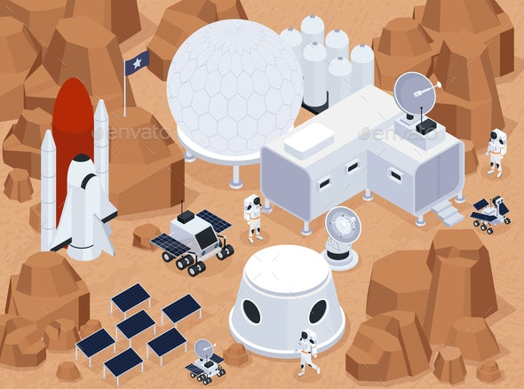 Extraterrestrial Base Isometric Composition - Miscellaneous Vectors