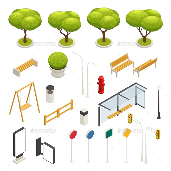 City Map Elements Constructor Isometric Icon Set - Business Conceptual