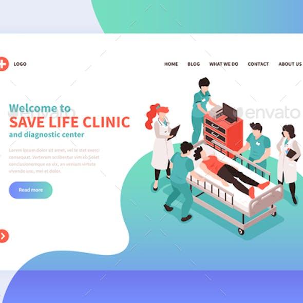 Isometric Hospital Landing Page