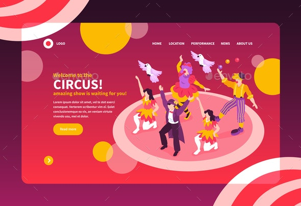 Isometric Circus Landing Page - Sports/Activity Conceptual