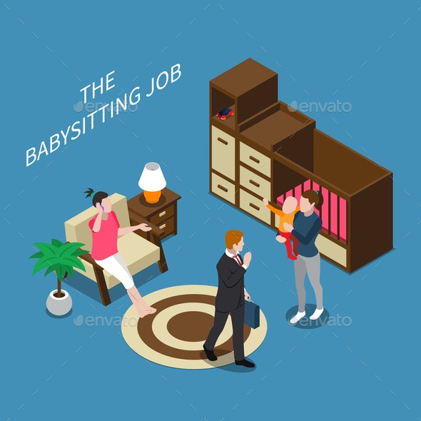 Babysitter Isometric Composition - Miscellaneous Vectors