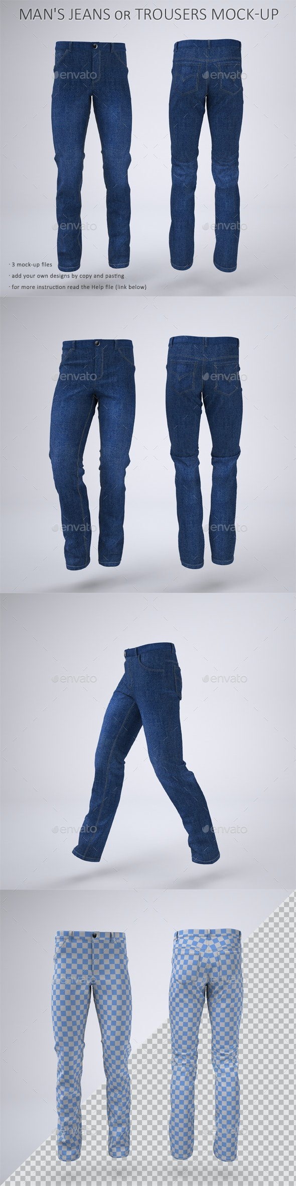 Man's Denim Jeans or Trousers Mock-Up - Apparel Product Mock-Ups