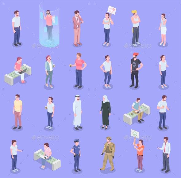 Society People Isometric Set - Miscellaneous Vectors