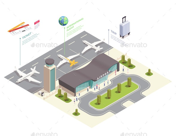 Isometric Airport Field Composition - Miscellaneous Vectors