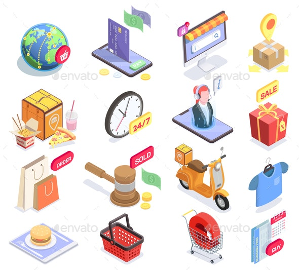 Electronic Shopping Icons Collection - Business Conceptual