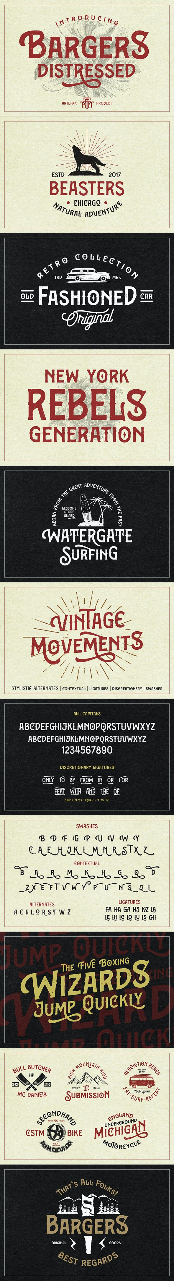 Bargers Distressed - Miscellaneous Serif