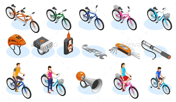 Bicycle Isometric Icons Set - People Characters