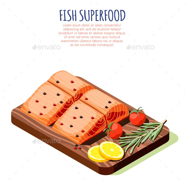 Fish Superfood Isometric Design Concept - Food Objects