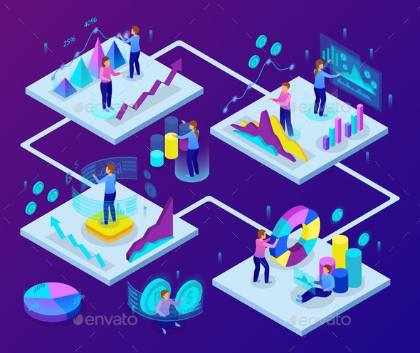 Business Analytics Isometric  Concept - Business Conceptual