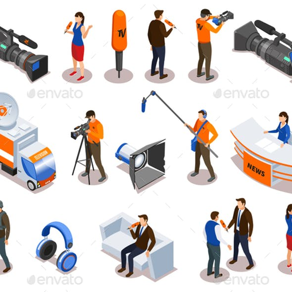 Broadcasting Isometric Icons Set