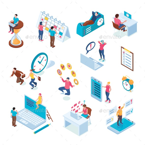 Time management Isometric Set - People Characters
