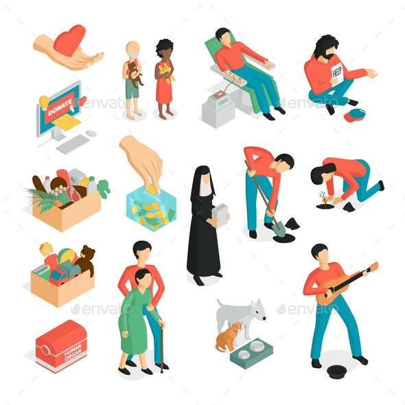 Isometric Donation Icon Set - Objects Vectors