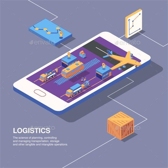 Smart Logistics Conceptual Composition - Buildings Objects