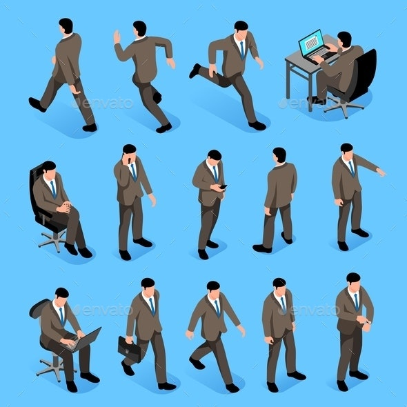 Men Poses Isometric Icons Set - People Characters