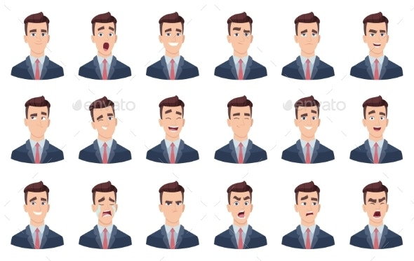 Man Emotions. Facial Characters Different Faces - People Characters